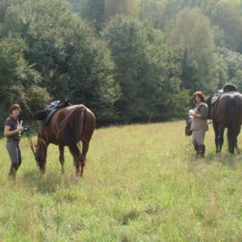Zwei Frauen mit ihren Pferden beim Herbstritt September 2009.