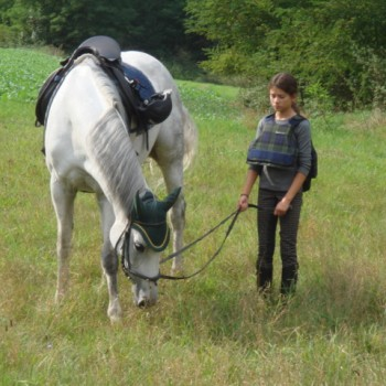 Ein Mädchen mit einem weißen Pferd in der Natur beim Jugendausritt September 2009.