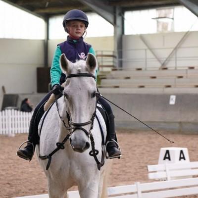 Das Bild zeigt ein kleines Mädchen auf einem weißen Pferd in einer Reithalle.