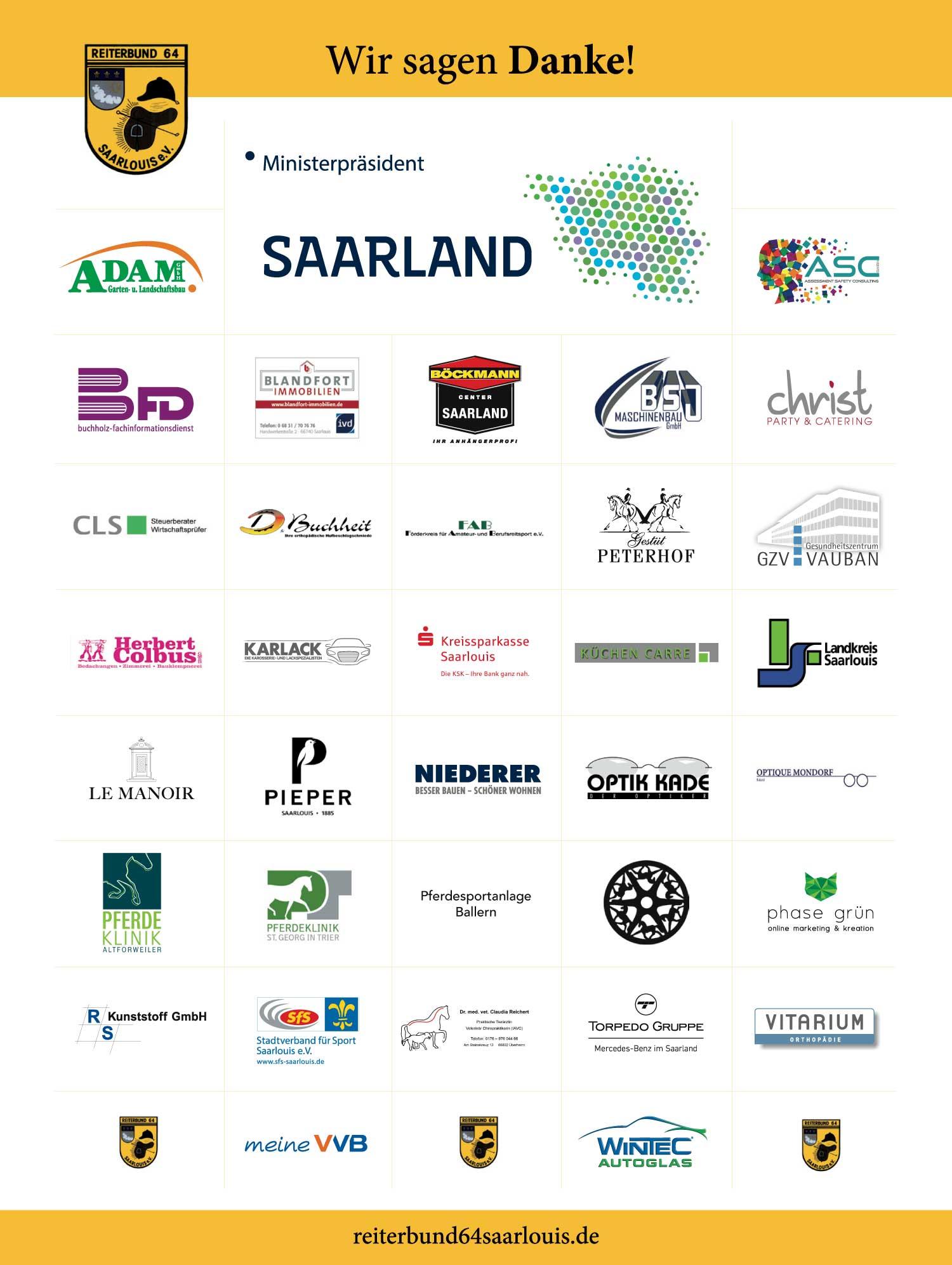 Das Bild zeigt die Logos verschiedener Sponsoren des Dressurfestivals 2019.