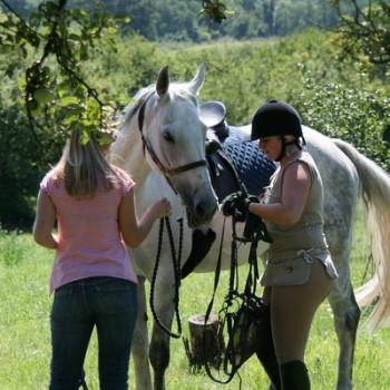 Zwei Frauen mit einem Pferd in der Natur beim Ausritt Bohnenberg.