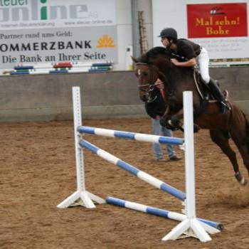 Eine Reiterin auf ihrem braunen Pferd beim Springen über eine Hürde in einer Reithalle.