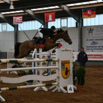 Ein Foto einer Reiterin auf ihrem Pferd beim Springen in einer Reithalle.